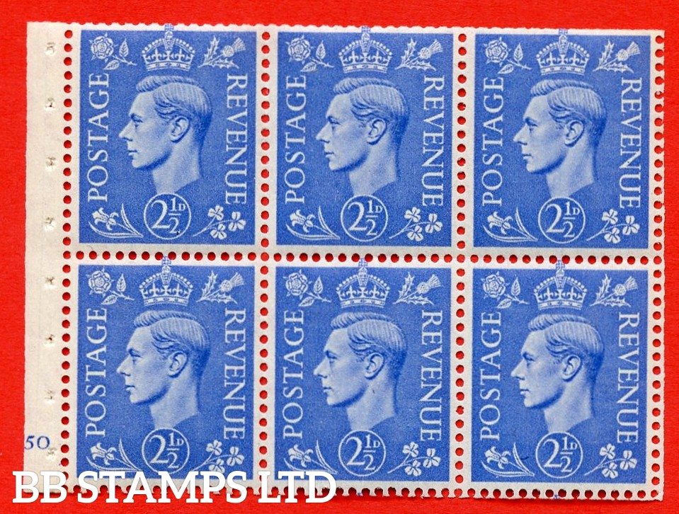 """SG. 489f. QB33. 2½d blue. A fine UNMOUNTED MINT complete Cylinder pane of 6 J50 No dot. Perf type """"B3(I)"""". Trimmed Perfs."""