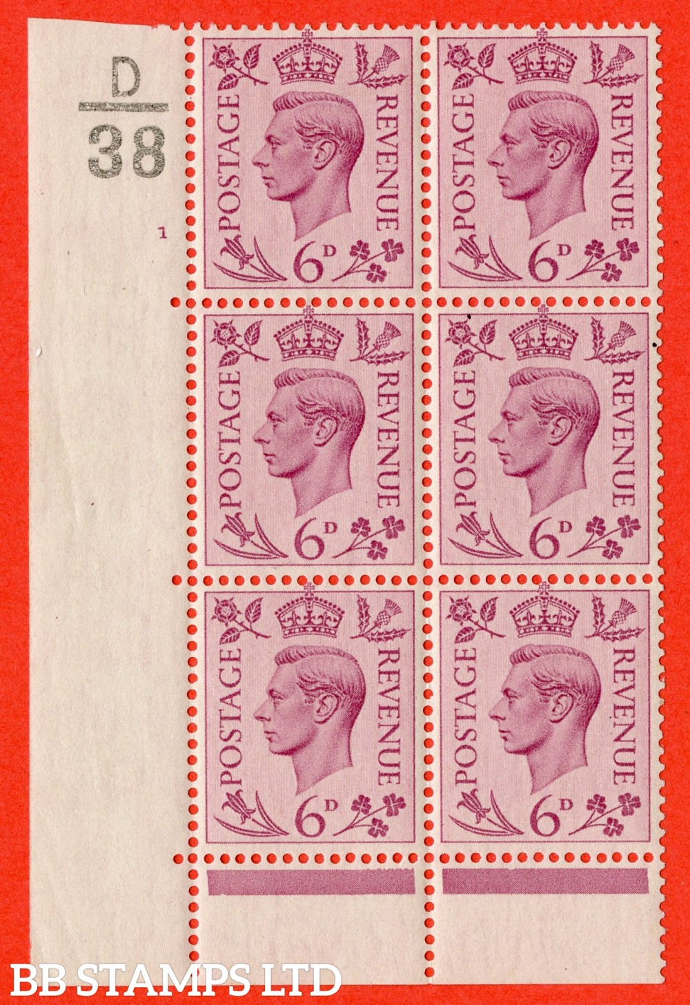 """SG. 470. Q22. 6d Purple. A fijne lightly mounted mint """" Control D38 cylinder 1 no dot """" control block of 6 with perf type 6B E/P."""
