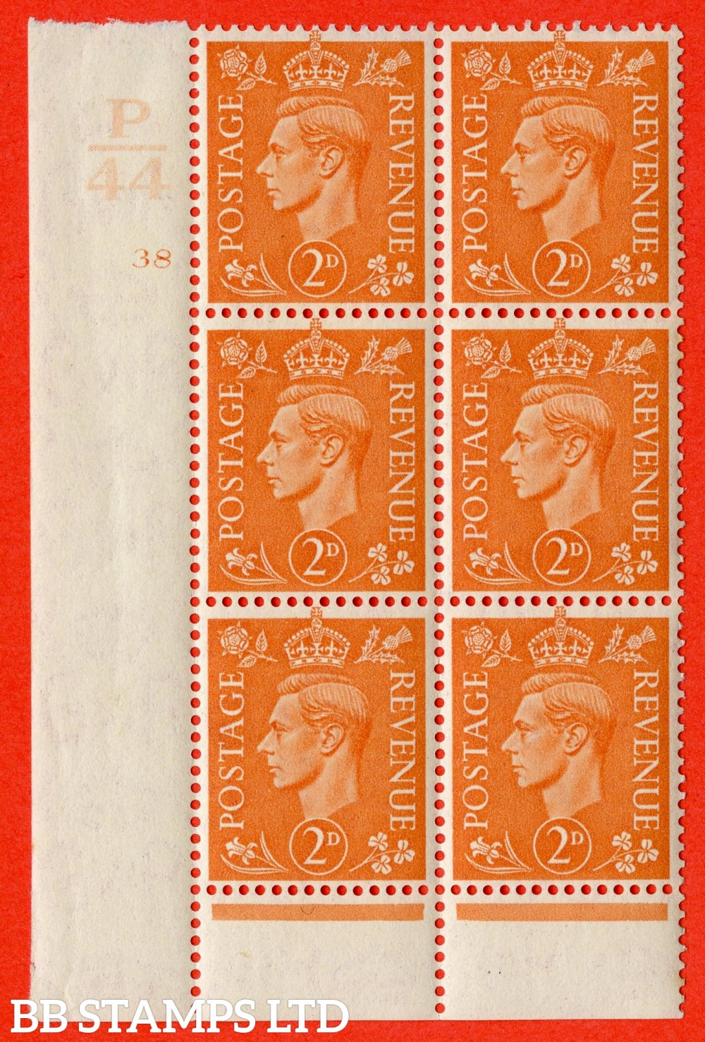 """SG. 488. Q11. 2d Pale Orange. A superb UNMOUNTED MINT """" Control P44 cylinder 38 no dot """" control block of 6 with perf type 6 I/P."""