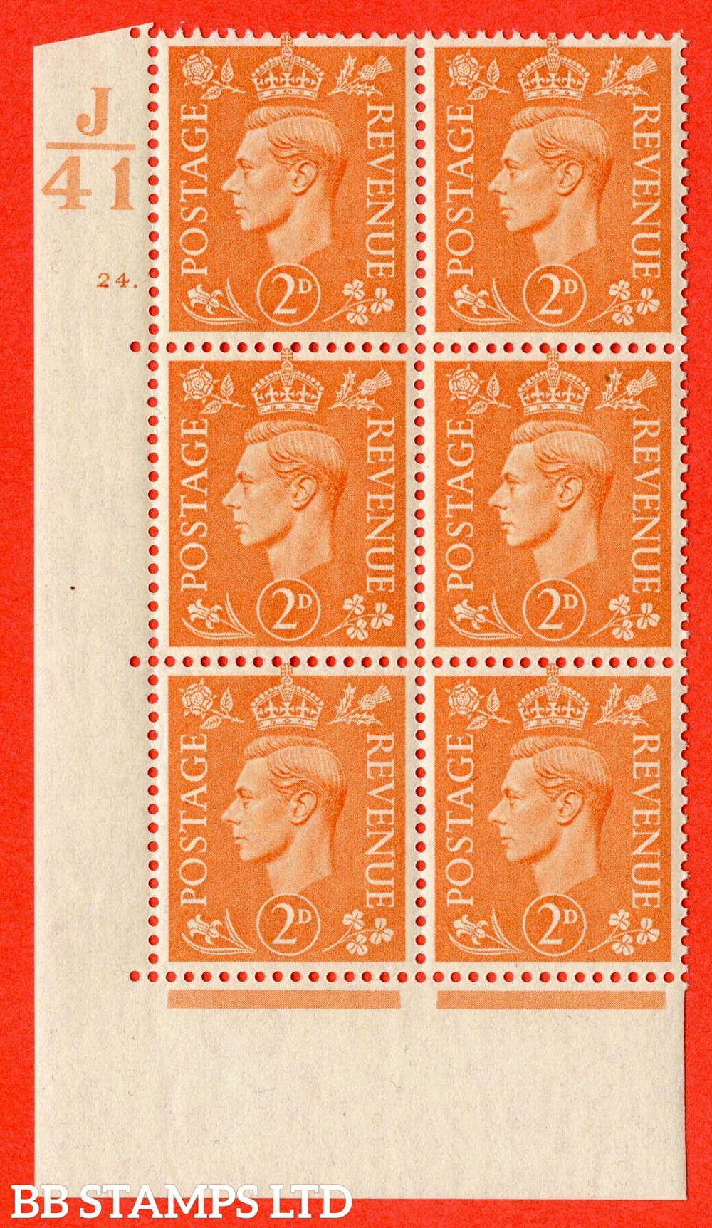 "SG. 488. Q11. 2d Pale Orange. A fine lightly mounted mint "" Control J41 cylinder 24 dot "" control block of 6 with perf type 5 E/I."