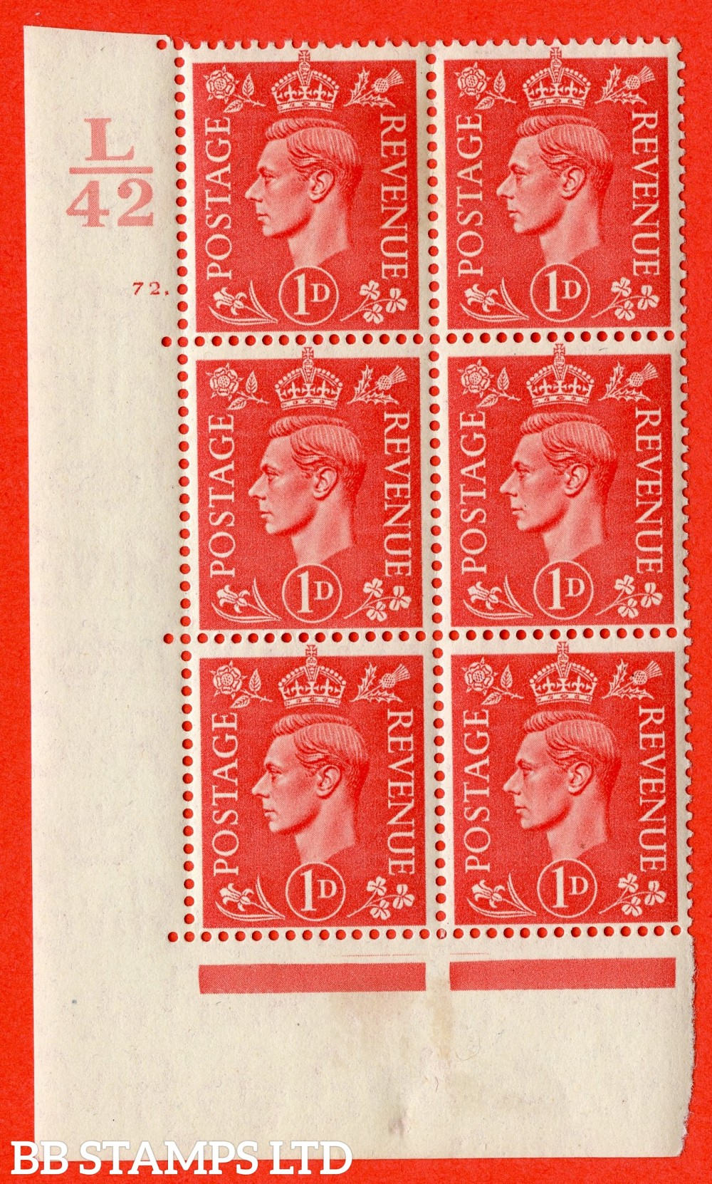 "SG. 486. Q5. 1d Pale scarlet. A fine lightly mounted mint "" Control L42  cylinder 72 dot "" control block of 6 with perf type 5 E/I."