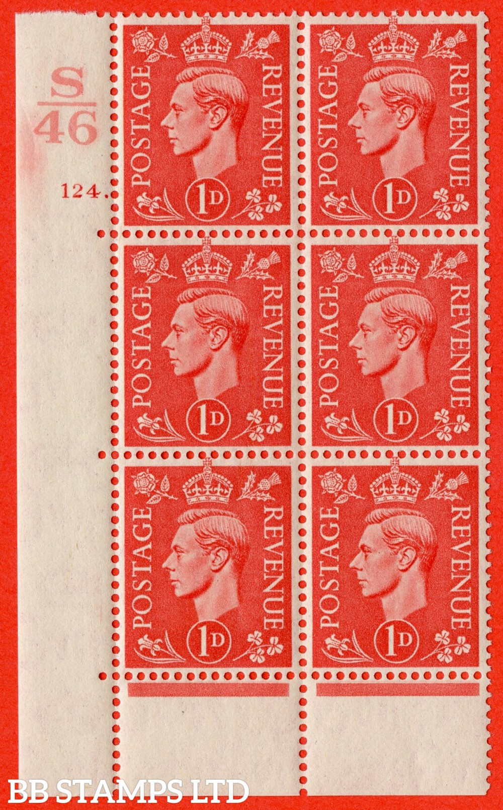 "SG. 486. Q5. 1d Pale scarlet. A superb UNMOUNTED MINT "" Control S46  cylinder 124 dot "" control block of 6 with perf type 6B E/P."