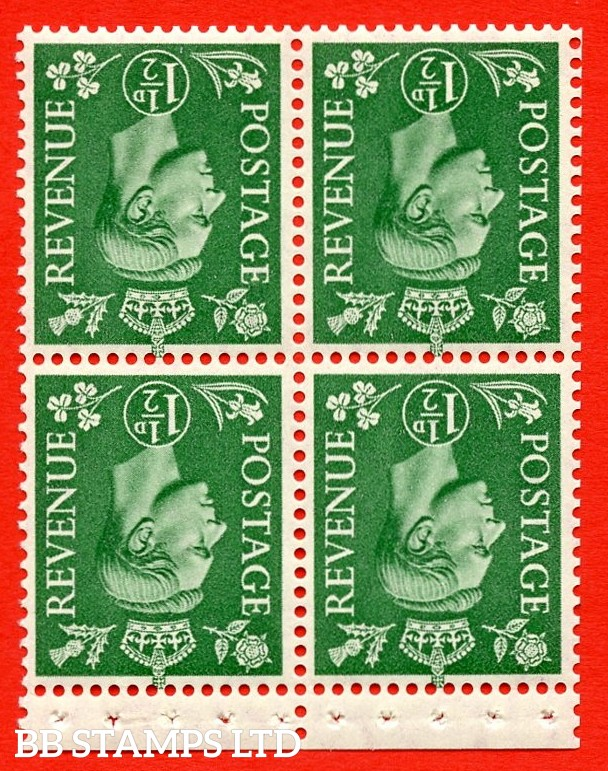 """SG. 505cw. QB27b. 1½d pale green. A superb UNMOUNTED MINT complete booklet pane. Perf type """" P """". Good Perfs."""