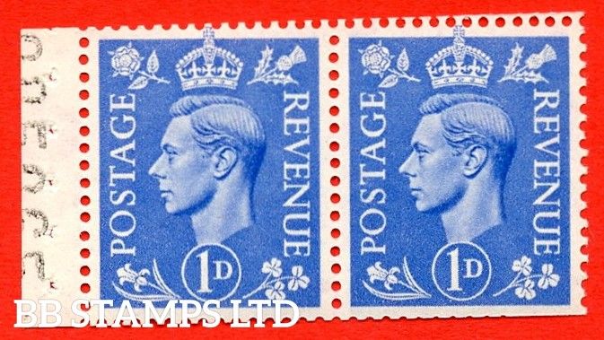 """SG. 504. QB17. 1d ultramarine. A fine UNMOUNTED MINT complete booklet pane of 2. Perf type """" I """". Trimmed Perfs."""