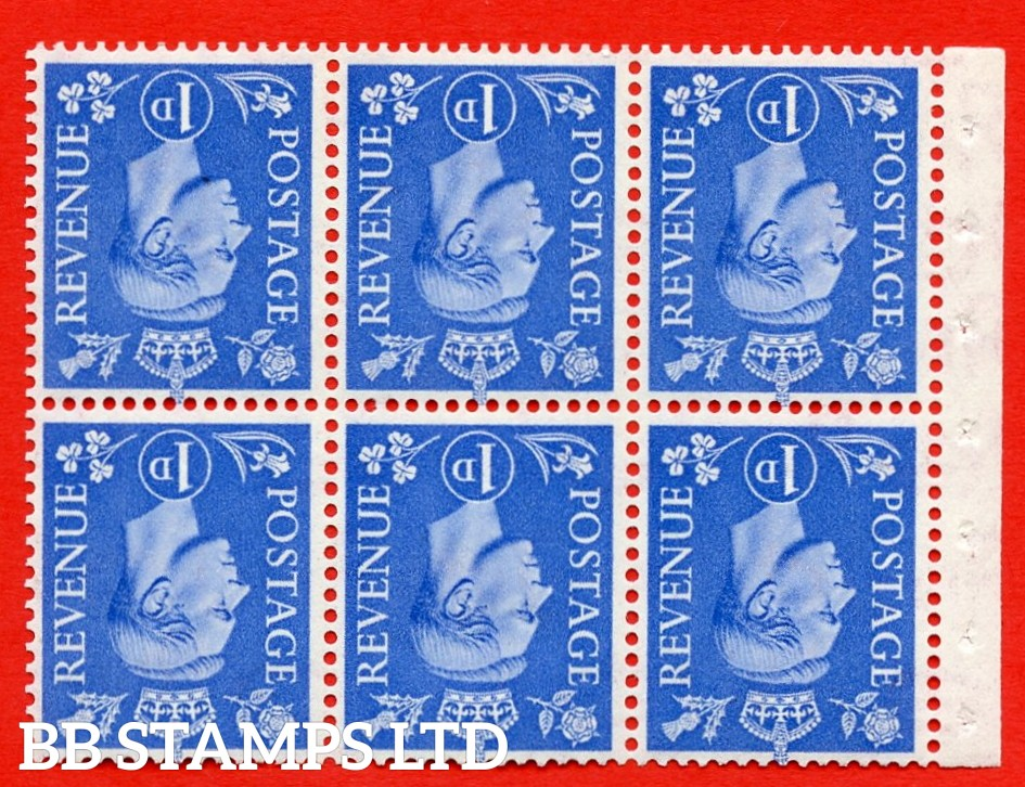 """SG. 504fw. QB15a. 1d ultramarine. Type 1c. A fine UNMOUNTED MINT. INVERTED WATERMARK. complete booklet pane of 6. Perf type """" I """". Good Perfs."""