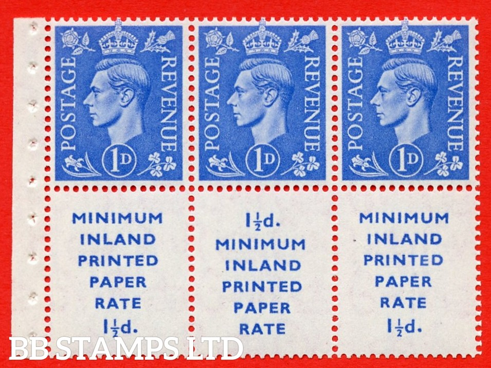 """SG. 504d. QB18. 1d ultramarine. A fine UNMOUNTED MINT example with """" MINIMUM INLAND PRINTED PAPER RATE """" 17 mm high. Perf type """" Ieb """". Good Perf."""