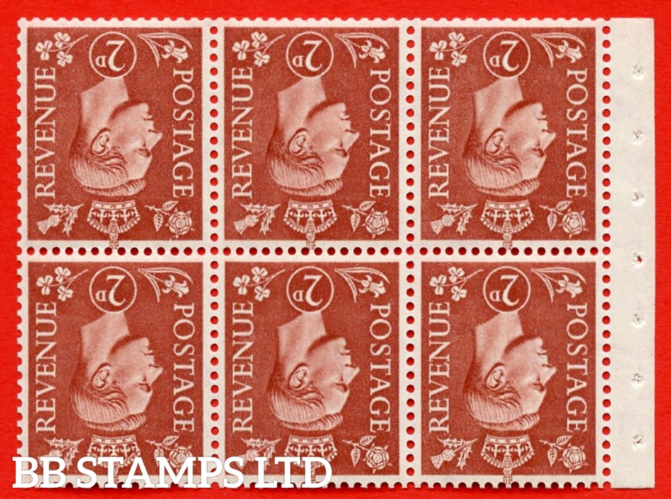 """SG. 506dw. QB31a. 2d pale red brown. A superb MOUNTED MINT. INVERTED WATERMARK complete booklet pane. Perf type """" I """". Good Perfs."""