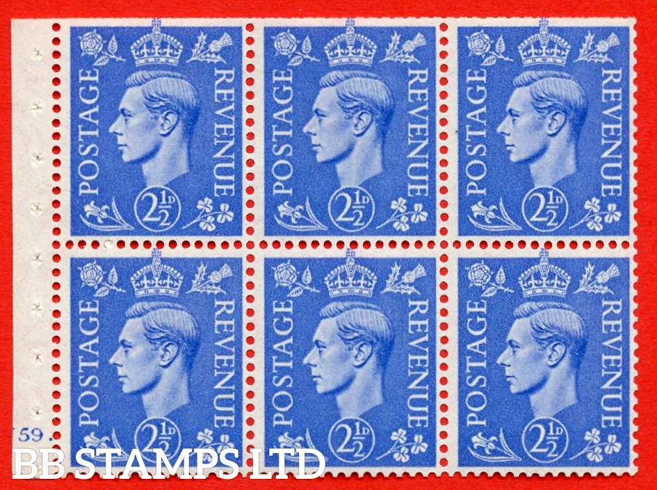 """SG. 489f. QB33. 2½d blue. A fine UNMOUNTED MINT complete Cylinder pane of 6 J59 dot. Perf type """"B6(IE)"""". Trimmed Perfs."""