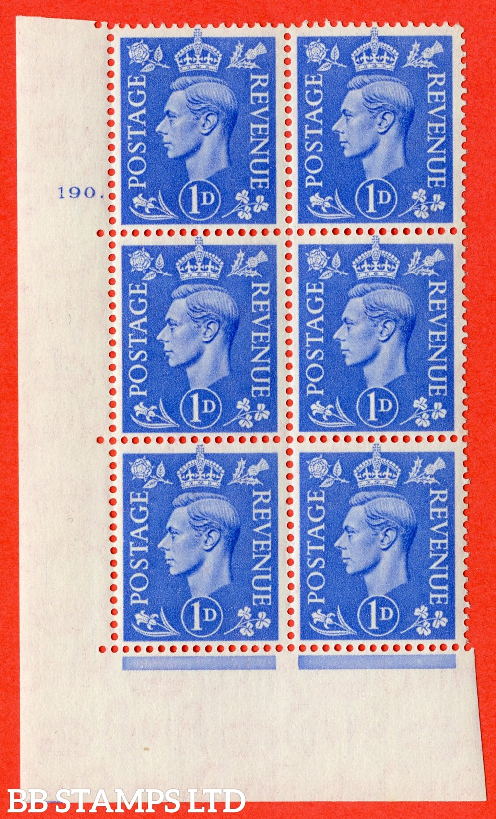 """SG. 504. Q6. 1d Light ultramarine. A fine lightly mounted mint """" No Control cylinder 190 dot """" control block of 6 with perf type 5 E/I"""