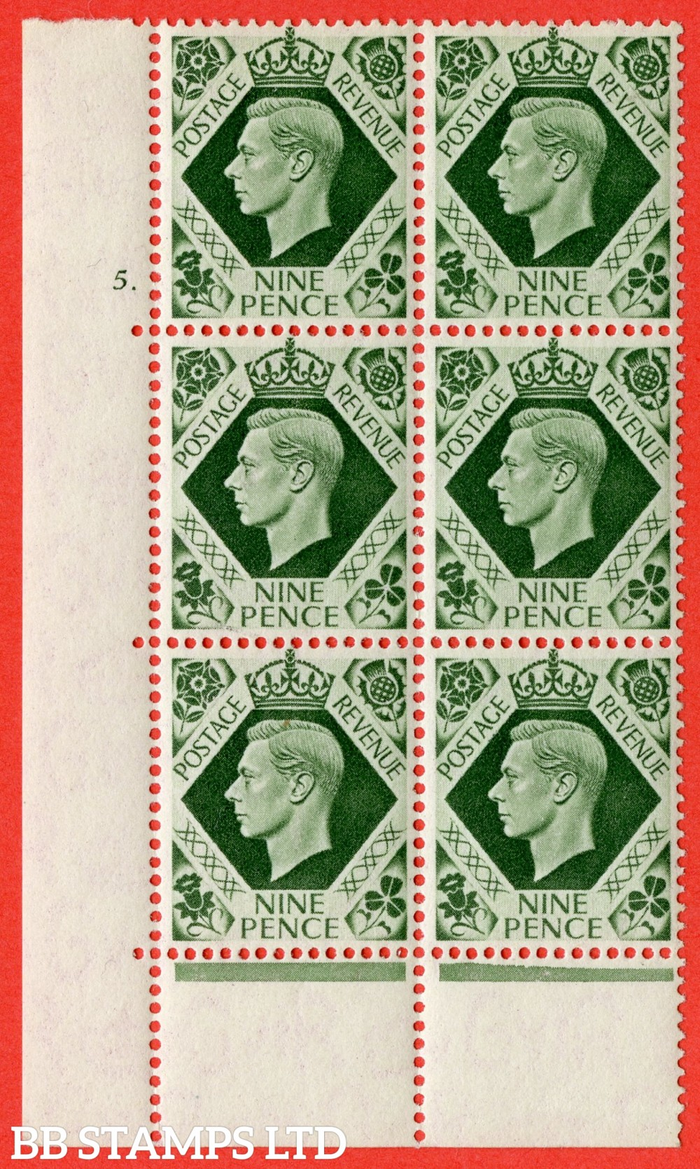 "SG. 473. Q25 b. 9d Olive-Green. A superb UNMOUNTED MINT "" No Control  cylinder 5 dot "" control block of 6 with perf type 6B E/P."