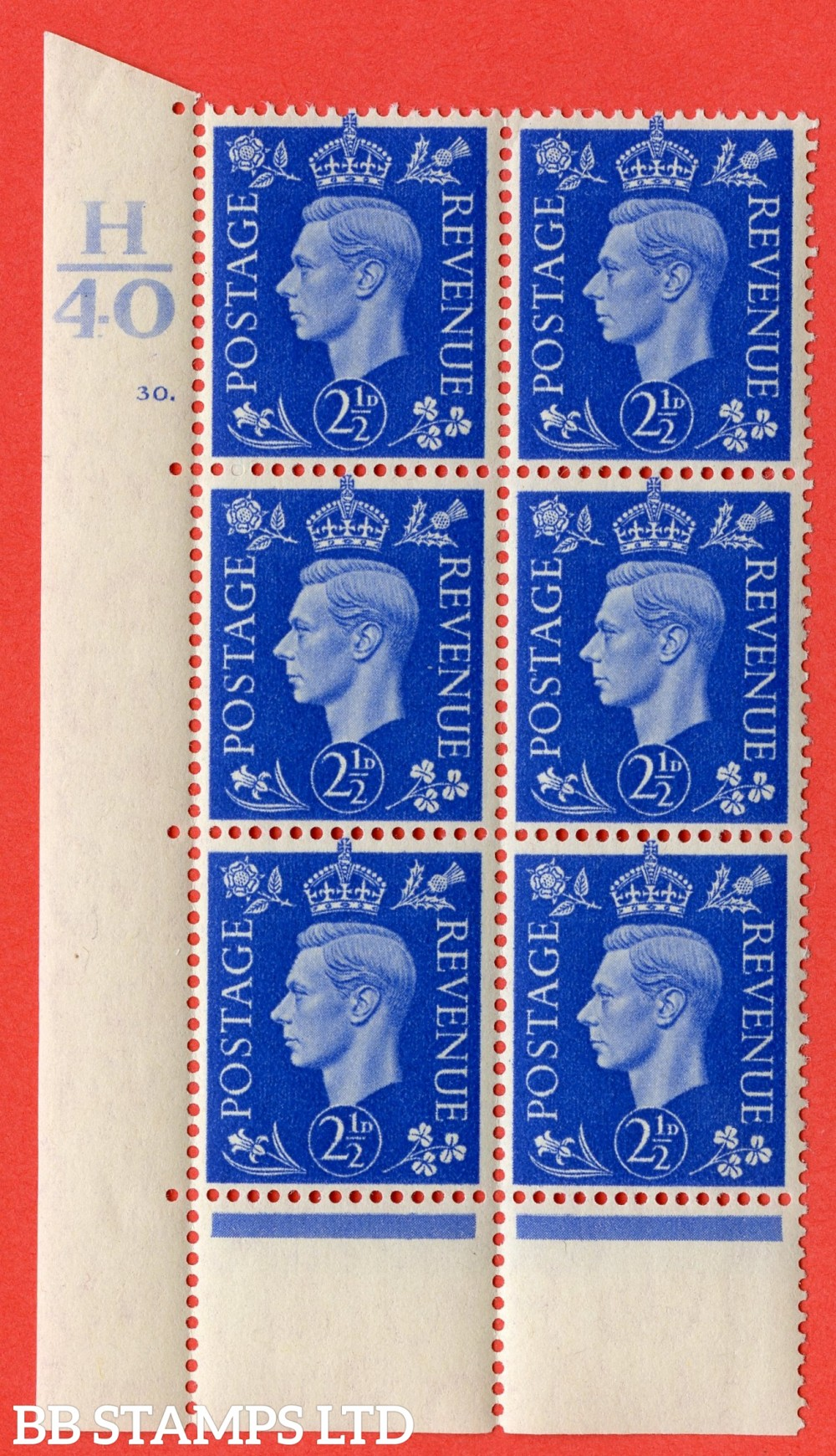 "SG. 466. Q13. 2½d Ultramarine. A superb UNMOUNTED MINT "" Control H40 cylinder 30 dot "" control block of 6 with perf type 6B E/P."