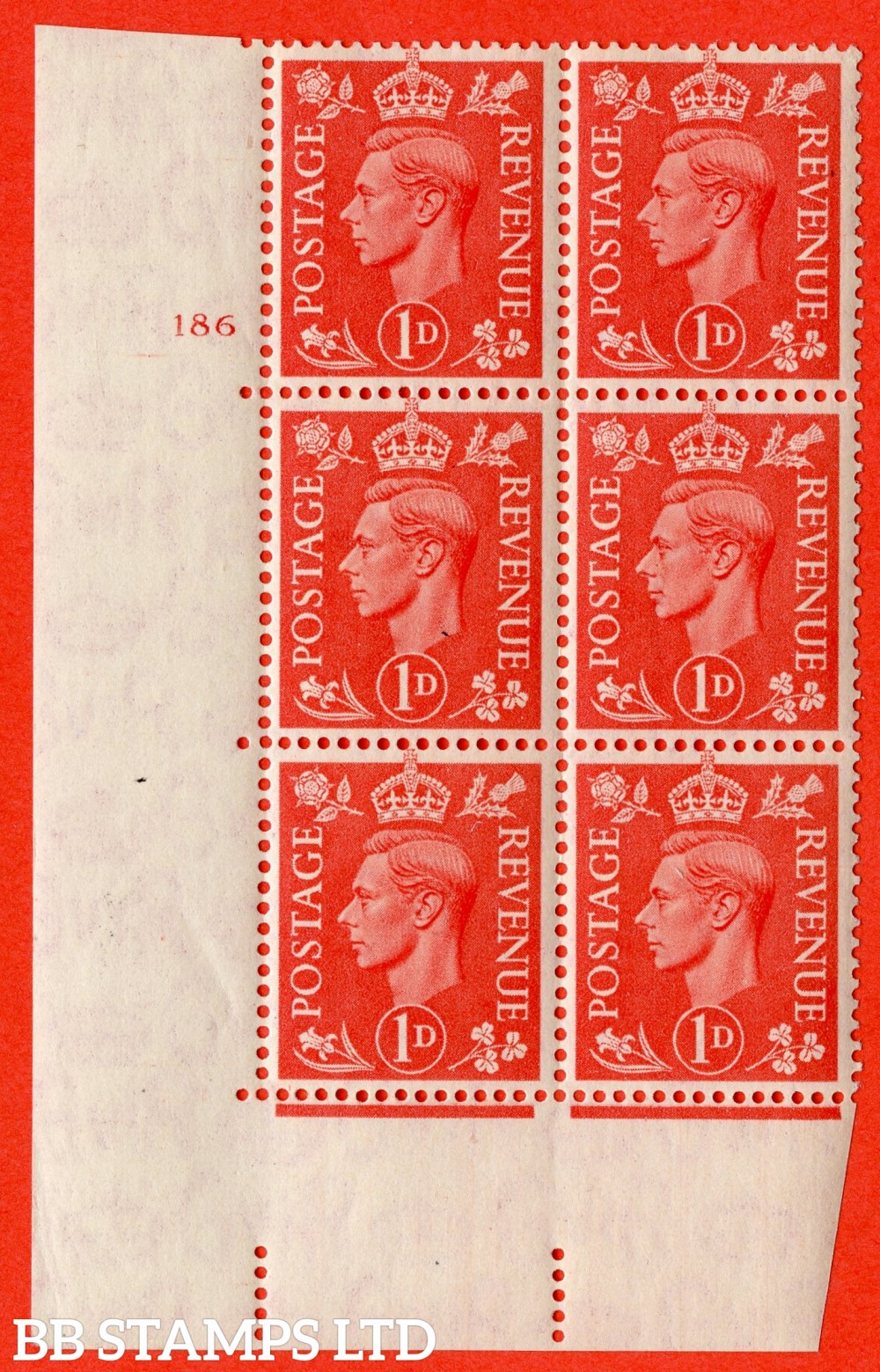 "SG. 486. Q5. 1d Pale scarlet. A superb UNMOUNTED MINT "" No Control   cylinder 186 no dot "" control block of 6 with perf type 5 E/I."