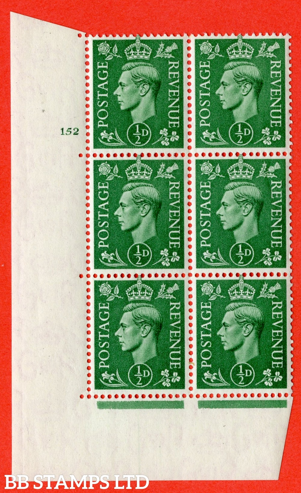"SG. 485. Q2. ½d Pale Green. A superb UNMOUNTED MINT "" No Control cylinder 152 no dot "" block of 6 with perf type 5 E/I with marginal rule."