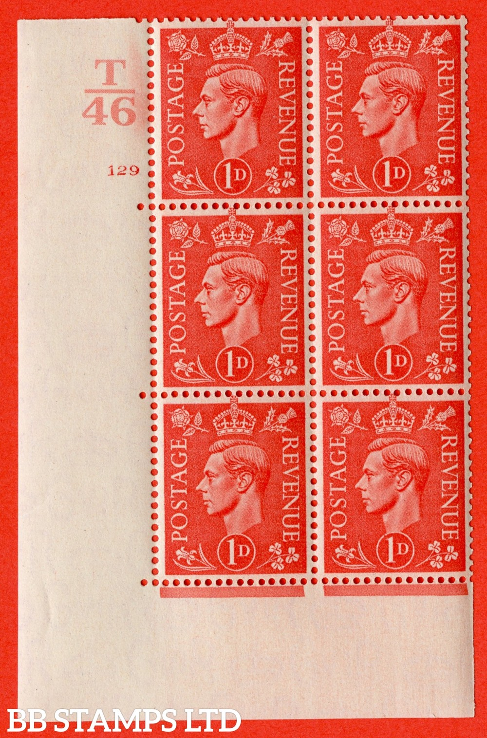 "SG. 486. Q5. 1d Pale scarlet. A superb UNMOUNTED MINT "" Control T46  cylinder 129 no dot "" control block of 6 with perf type 5 E/I."