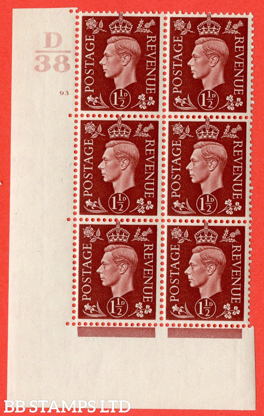 """SG. 464. Q7. 1½d Red-Brown. A superb UNMOUNTED MINT """" Control D38 cylinder 93 no dot """" block of 6 with perf type 5 E/I."""