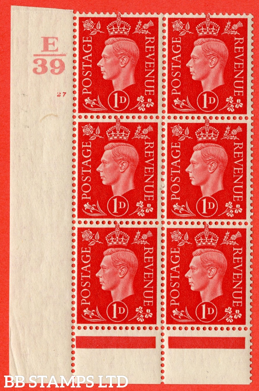 "SG. 463. Q4. 1d Scarlet. A superb UNMOUNTED MINT "" Control E39 cylinder 27 no dot "" block of 6 with perf type 5 E/I with marginal rule."