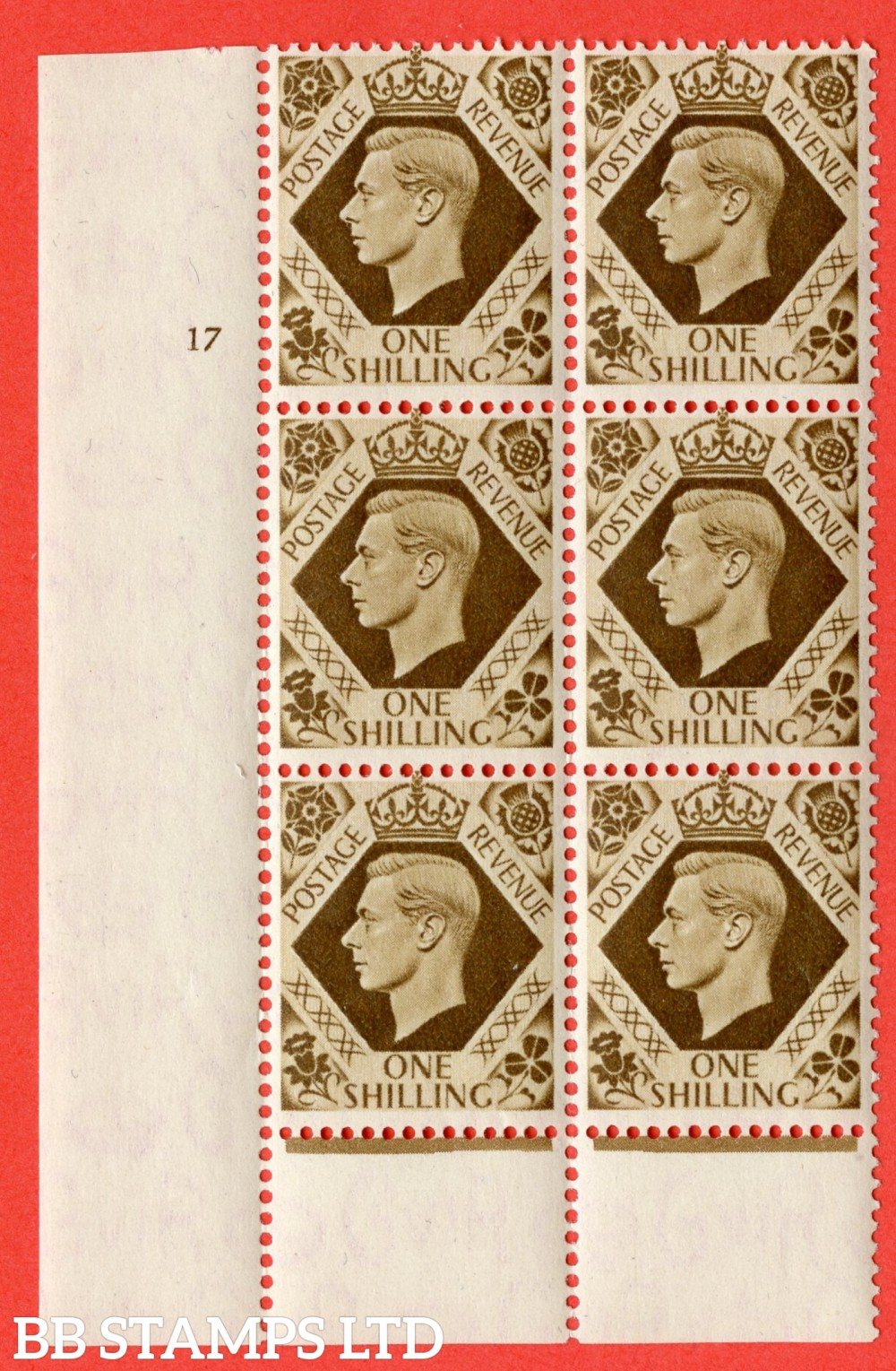 "SG. 475. Q28. 1/- Bistre-Brown. A superb UNMOUNTED MINT "" No Control  cylinder 17 no dot "" control block of 6 with perf type 6 I/P. Perf separation at bottom."