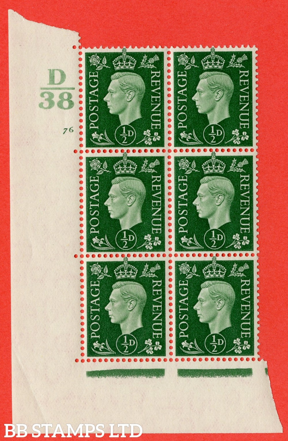 "SG. 462. Q1. ½d Green. A superb UNMOUNTED MINT "" Control D38 cylinder 76 no dot "" block of 6 with perf type 5 E/I."