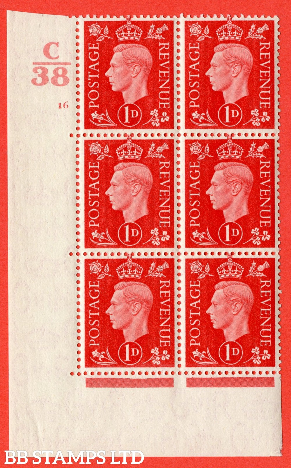 "SG. 463. Q4. 1d Scarlet. A superb UNMOUNTED MINT "" Control C38 cylinder 16 no dot "" block of 6 with perf type 5 E/I."