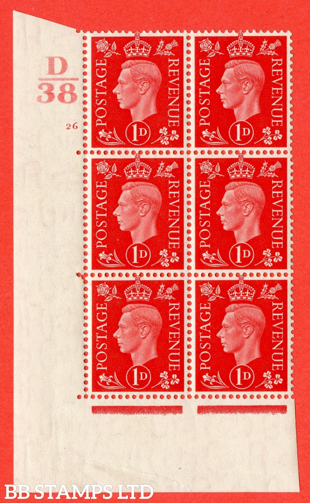 "SG. 463. Q4. 1d Scarlet. A superb UNMOUNTED MINT "" Control D38 cylinder 26 no dot "" block of 6 with perf type 5 E/I."