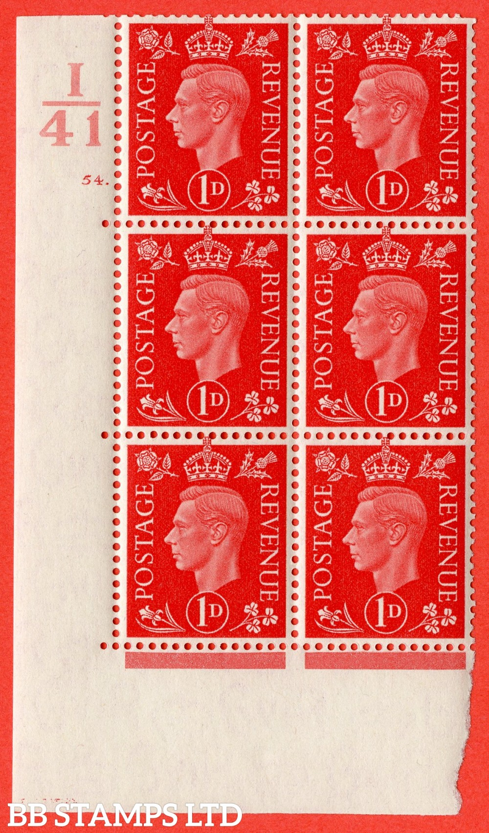 "SG. 463. Q4. 1d Scarlet. A lightly mounted mint "" Control I41 cylinder 54 dot "" block of 6 with perf type 5 E/I."