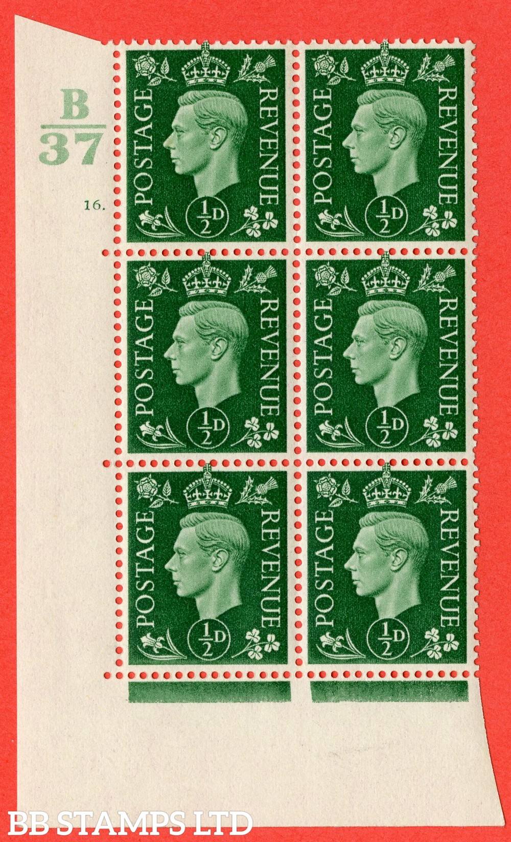 "SG. 462. Q1. ½d Green. A superb UNMOUNTED MINT "" Control B37 cylinder 16 dot "" block of 6 with perf type 5 E/I."