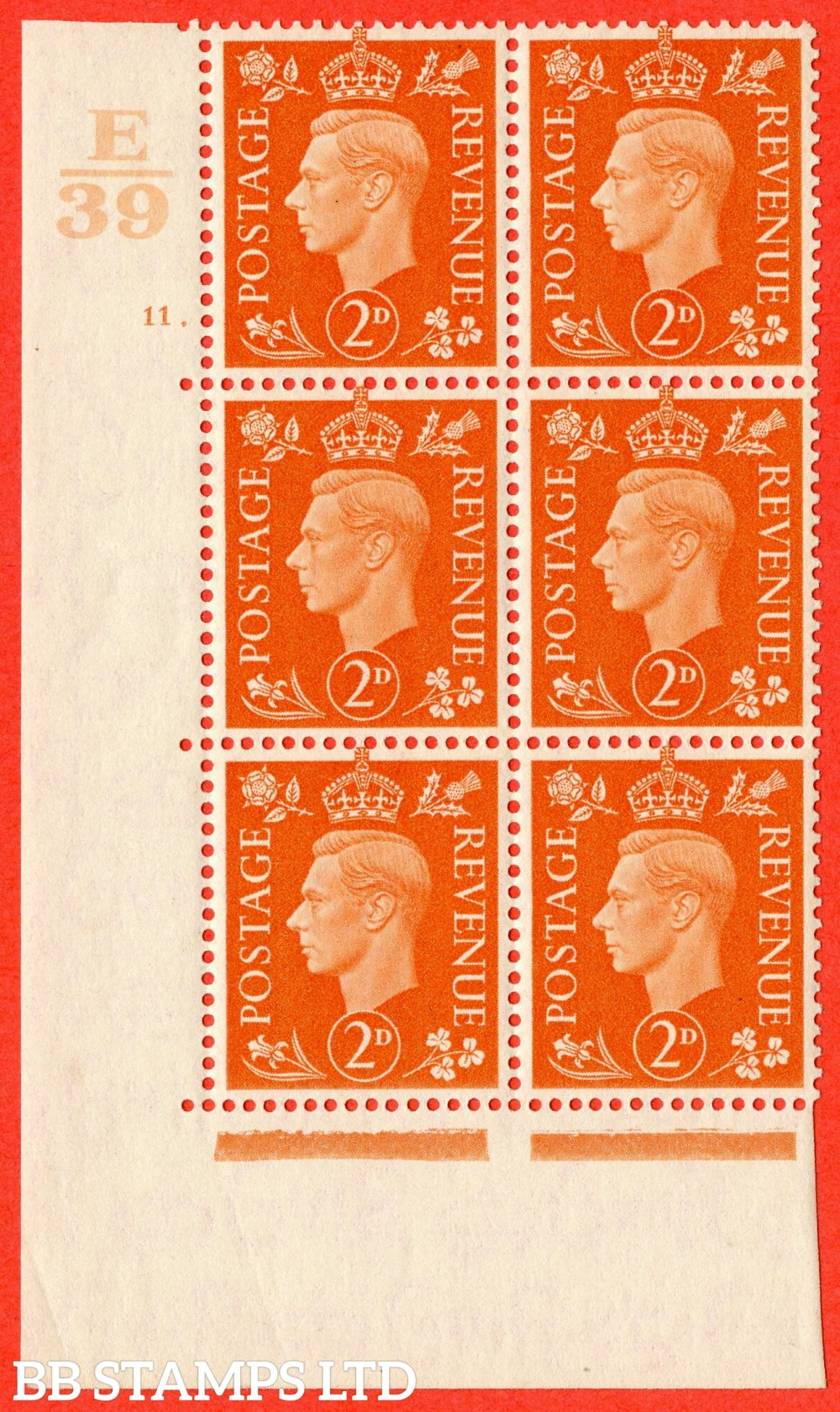 "SG. 465. Q10. 2d Orange. A superb UNMOUNTED MINT"" Control E39 cylinder 11 dot "" control block of 6 with perf type 5 E/I."