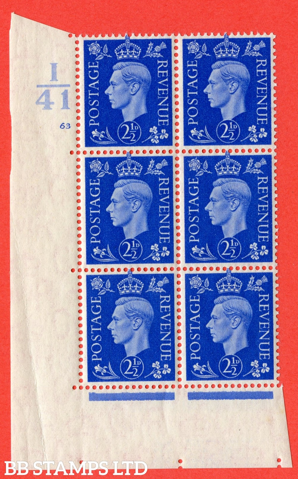 """SG. 466. d. Q13. 2½d Ultramarine.  A superb UNMOUNTED MINT """" Control I41 cylinder 63 no dot """" control block of 6 with perf type 5 E/I."""
