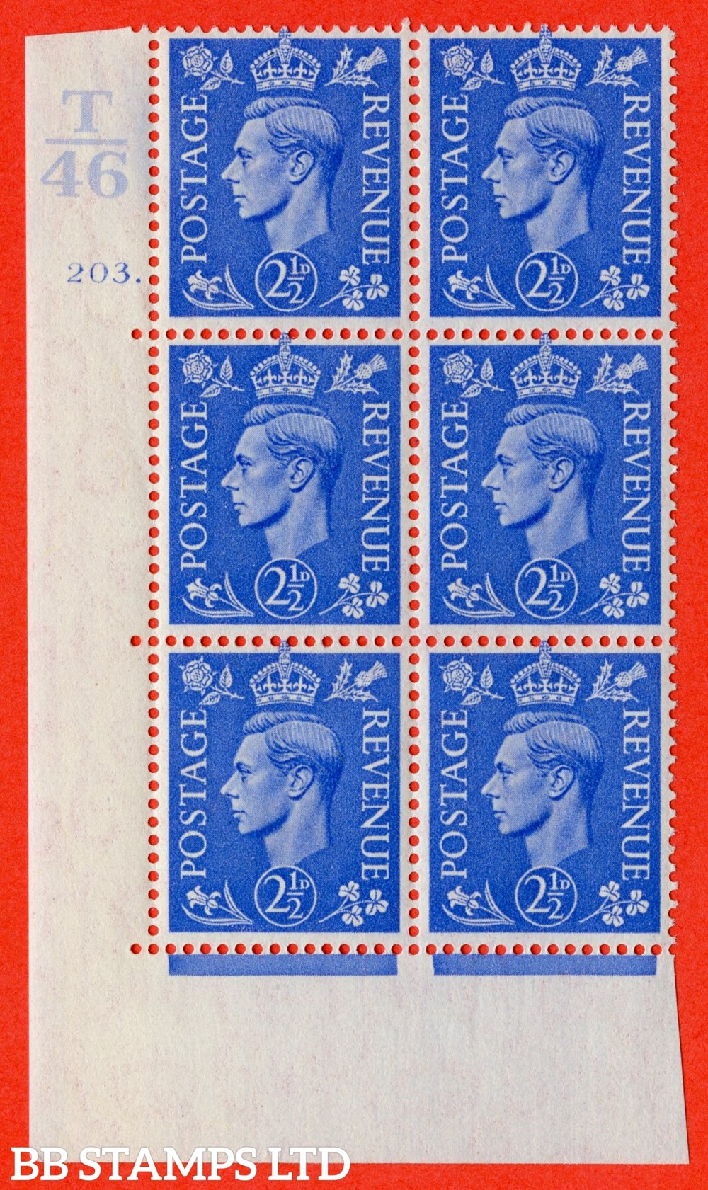 "SG. 489. Q14. 2½d Light ultramarine. A superb UNMOUNTED MINT "" Control T46 cylinder 203 dot "" control block of 6 with perf type 5 E/I."
