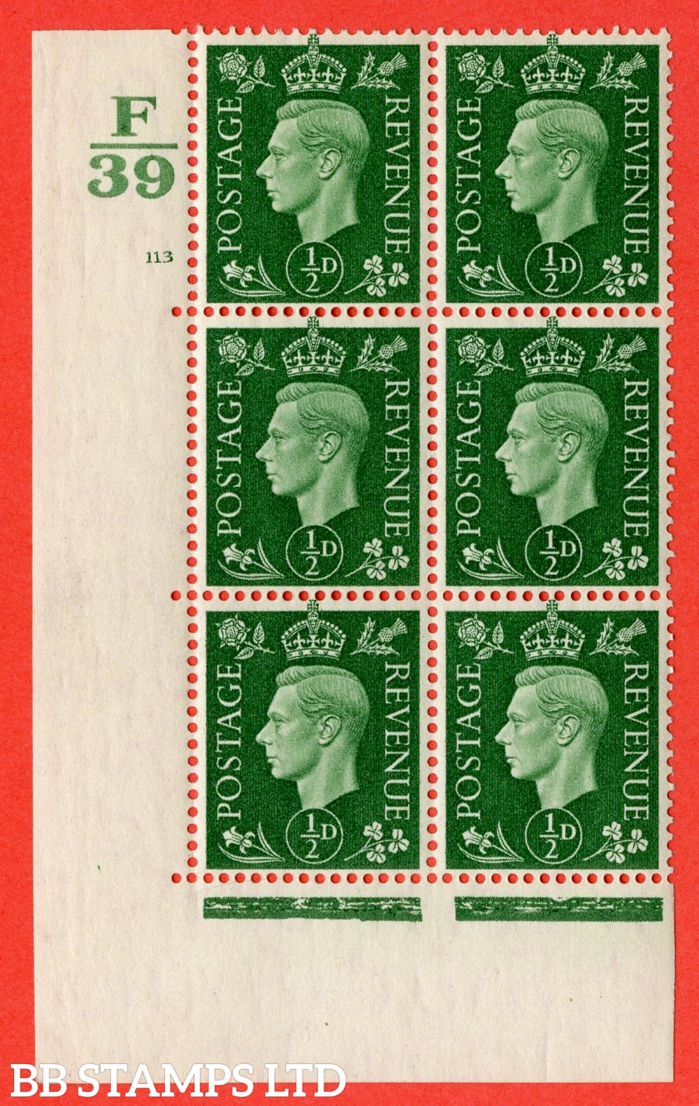 "SG. 462. Q1. ½d Green. A superb UNMOUNTED MINT "" Control F39 cylinder 113 no dot "" block of 6 with perf type 5 E/I with marginal rule."