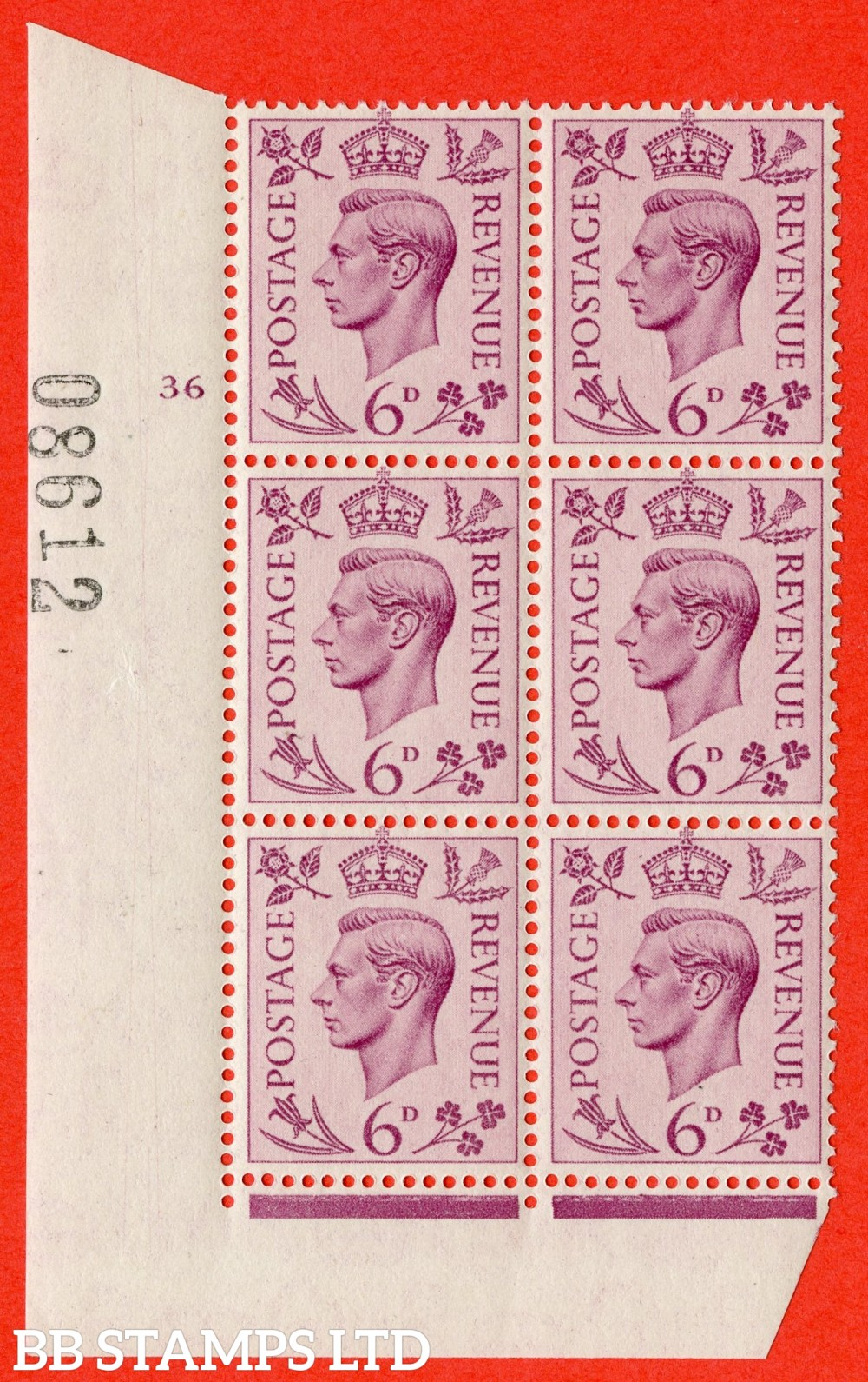 """SG. 470. Q22. 6d Purple. A superb UNMOUNTED MINT """" No Control cylinder 36 no dot """" control block of 6 with perf type 2 E/I"""