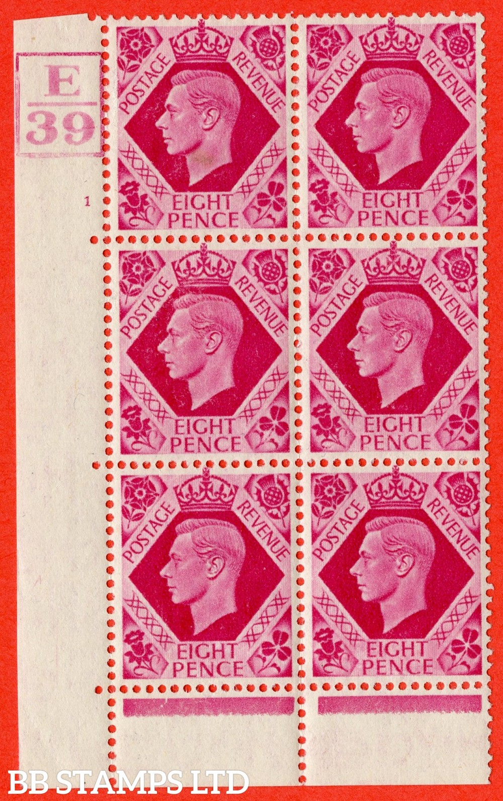"SG. 472. Q24. 8d Bright Carmine. A fine lightly mounted mint "" Control E39. Box Cylinder 1 no dot "" control block of 6 with perf type 6B E/P"