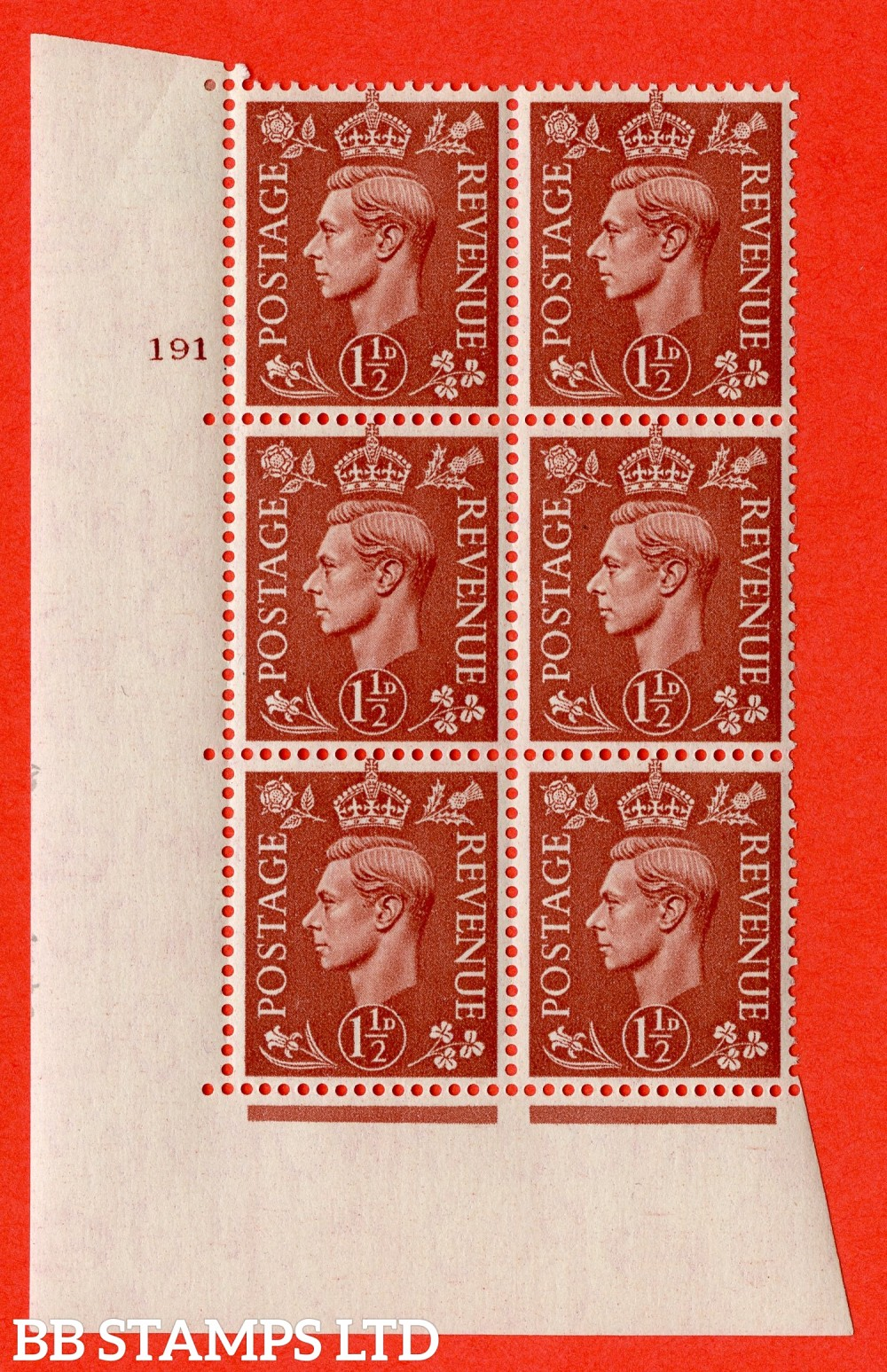 "SG. 487. Q8. 1½d Pale Red-Brown. A fine lightly mounted mint "" No Control cylinder 191 no dot "" control block of 6 with perf type 5 E/I."