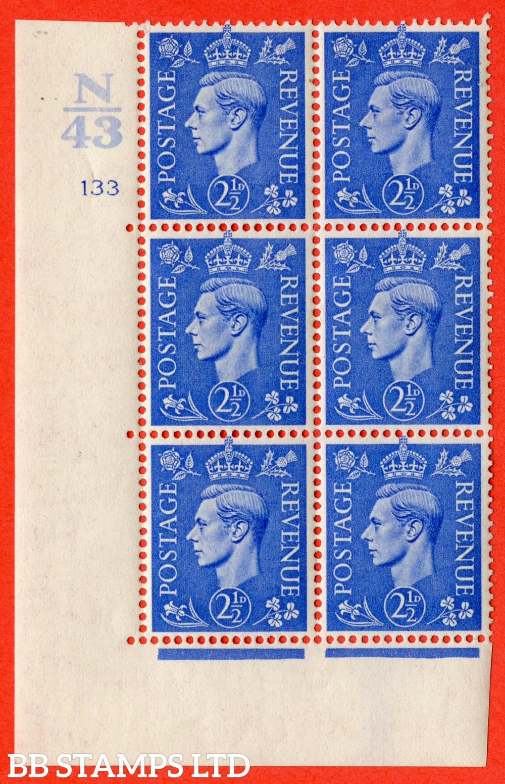 "SG. 489. Q14. 2½d Light ultramarine. A fine mounted mint "" Control N43 cylinder 133 no dot "" control block of 6 with perf type 5 E/I."