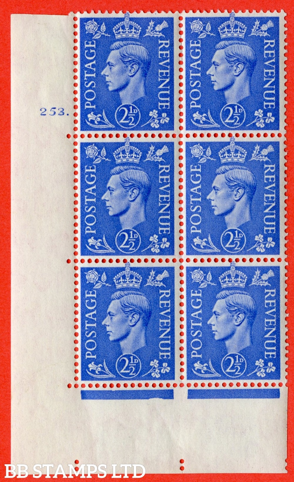 "SG. 489. Q14. 2½d Light ultramarine. A fine lightly mounted mint "" No Control cylinder 253 dot "" control block of 6 with perf type 5 E/I"