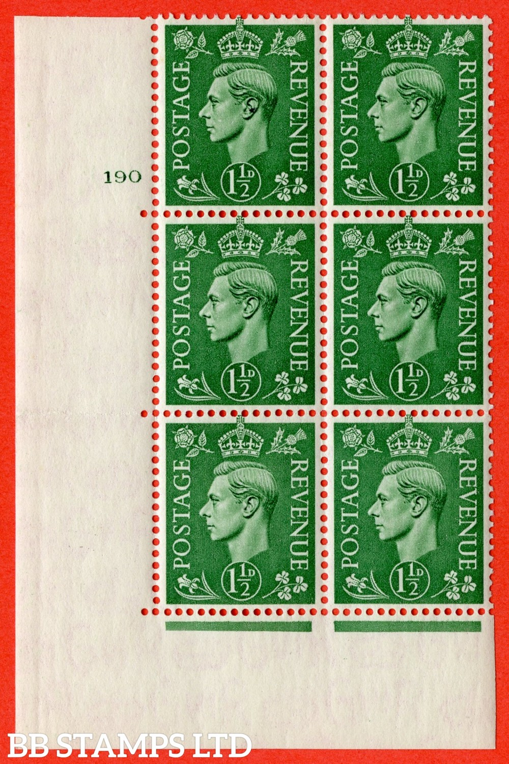 """SG. 505. Q9. 1½d Pale Green. A superb UNMOUNTED MINT """" No Control cylinder 190 no dot """" control block of 6 with perf type 5 E/I"""