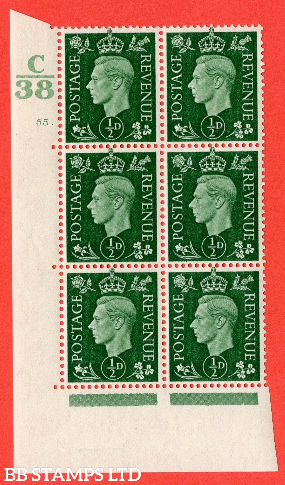 """SG. 462. Q1. ½d Green. A superb UNMOUNTED MINT """" Control C38 cylinder 55 dot """" block of 6 with perf type 5 E/I with marginal rule."""