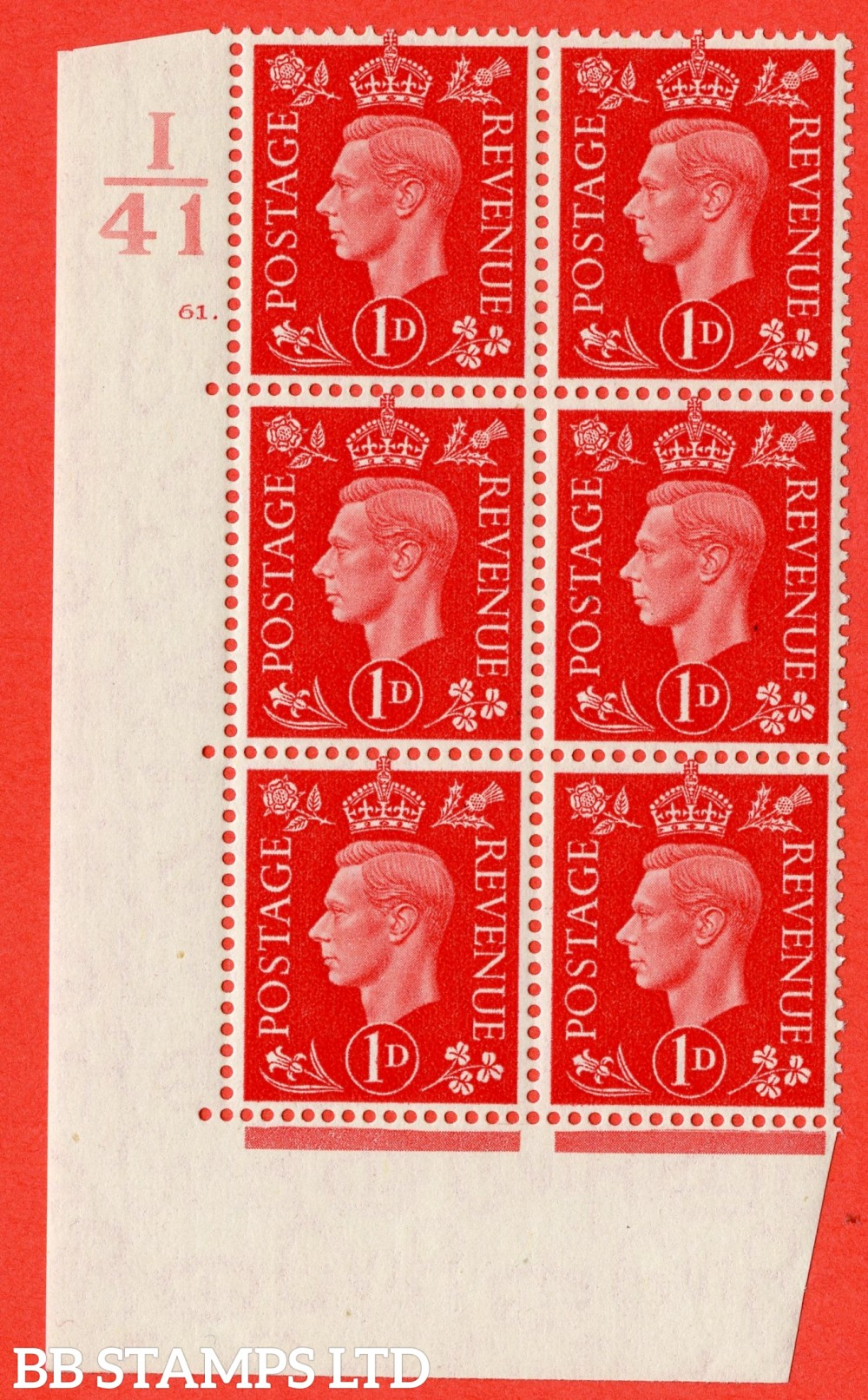 "SG. 463. Q4. 1d Scarlet. A fine lightly mounted mint "" Control I41 cylinder 61 dot "" block of 6 with perf type 5 E/I with marginal rule."