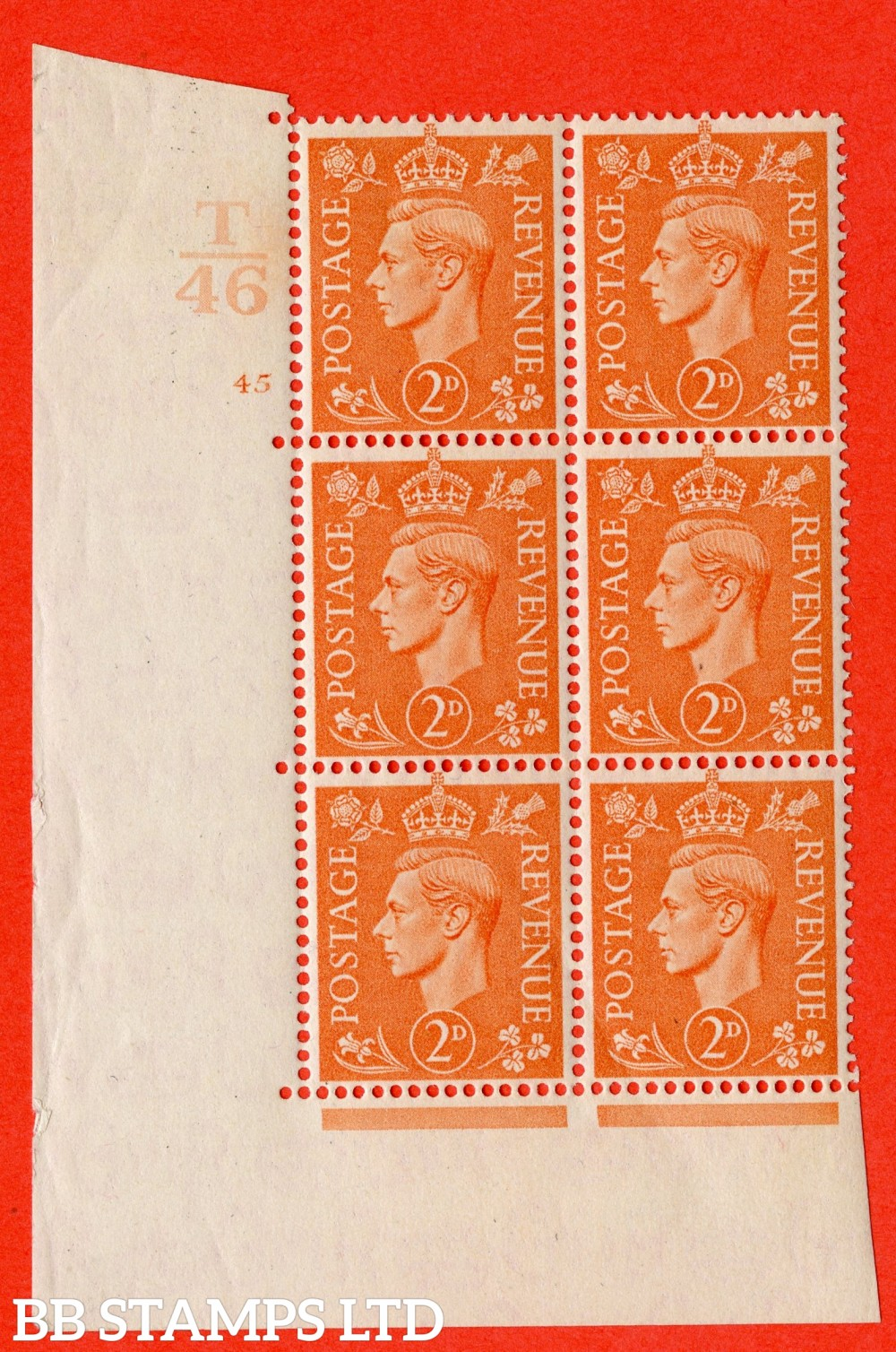 "SG. 488. Q11. 2d Pale Orange. A fine lightly mounted mint "" Control T46 cylinder 45 no dot "" control block of 6 with perf type 5 E/I."