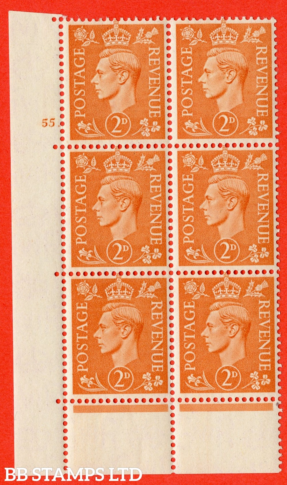 "SG. 488. Q11. 2d Pale Orange. A superb UNMOUNTED MINT "" No Control cylinder 55 no dot "" control block of 6 with perf type 6B E/P"