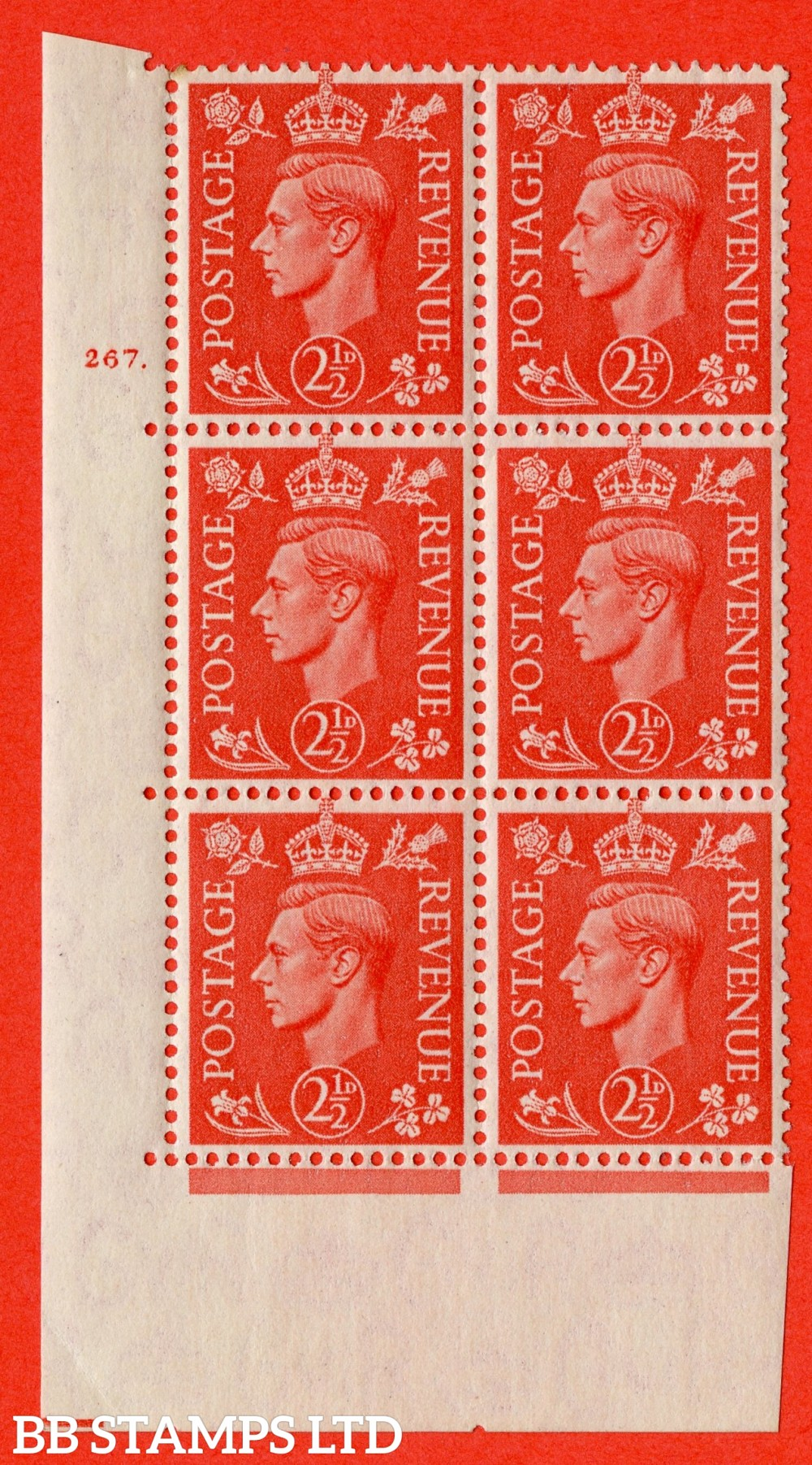 "SG. 507. Q15. 2½d Pale Scarlet. A superb UNMOUNTED MINT "" No Control cylinder 267 dot "" control block of 6 with perf type 5 E/I."