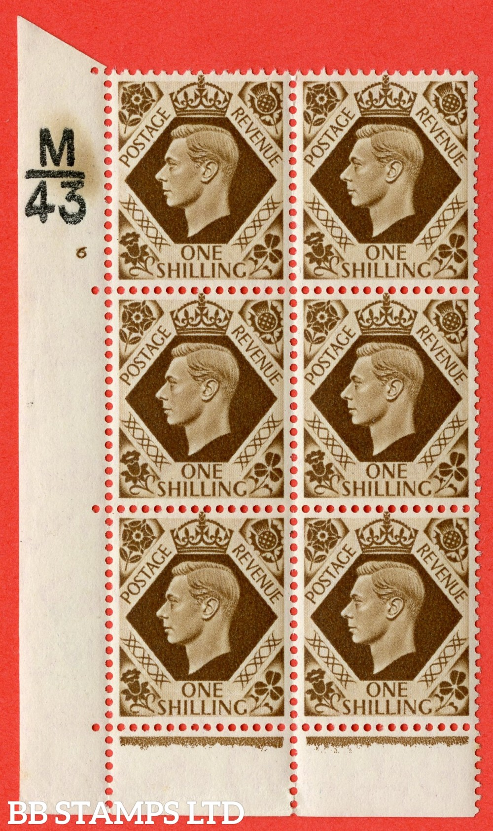 "SG. 475. Q28. 1/- Bistre-Brown. A superb UNMOUNTED MINT"" Control  M43 cylinder 6 no dot "" control block of 6 with perf type 6B E/P"