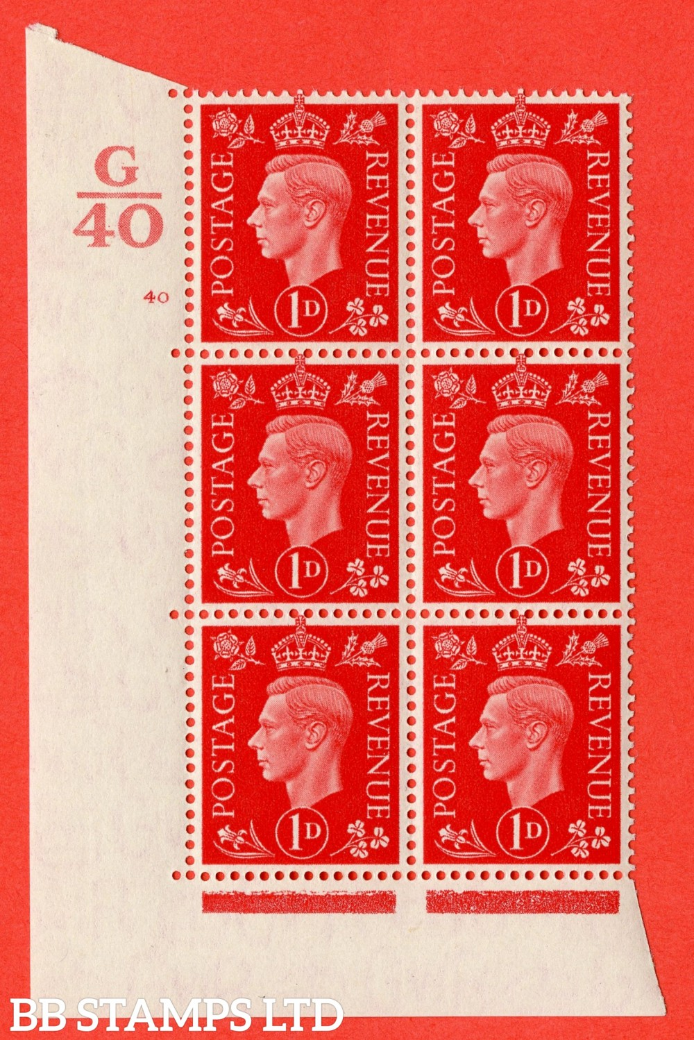 "SG. 463. Q4. 1d Scarlet. A superb UNMOUNTED MINT "" Control G40 cylinder 40 no dot "" block of 6 with perf type 5 E/I with marginal rule."
