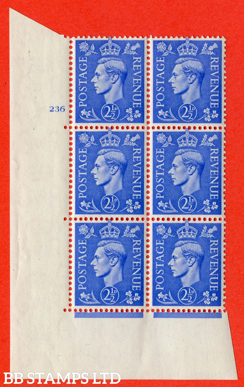 "SG. 489. Q14. 2½d Light ultramarine. A superb UNMOUNTED MINT "" No Control cylinder 236 no dot "" control block of 6 with perf type 5 E/I"