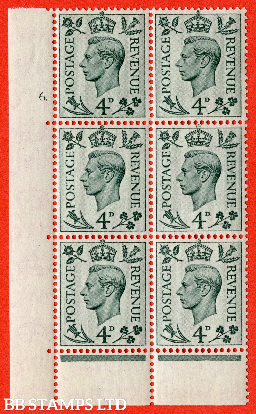 """SG. 468. Q19. 4d Grey-Green. A superb UNMOUNTED MINT. """" No Control.  Cylinder 6 no dot """" control block of 6 with perf type 6B E/P."""