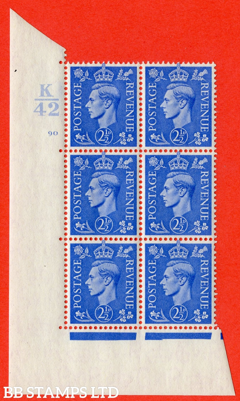 """SG. 489. Q14. 2½d Light ultramarine. A superb UNMOUNTED MINT """" Control K42 cylinder 90 no dot """" control block of 6 with perf type 5 E/I."""