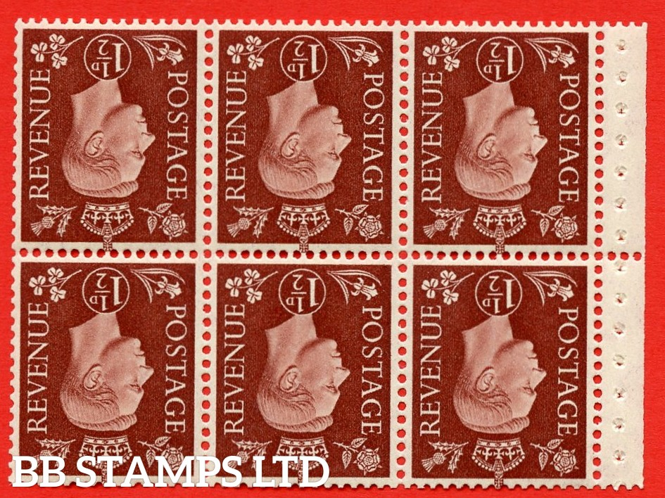 QB21a Perf Type P 1½d Red-Brown x 6 Pane, MOUNTED MINT Watermark Inverted. ( SG. 464cw ) Perf type P. Good Perfs.