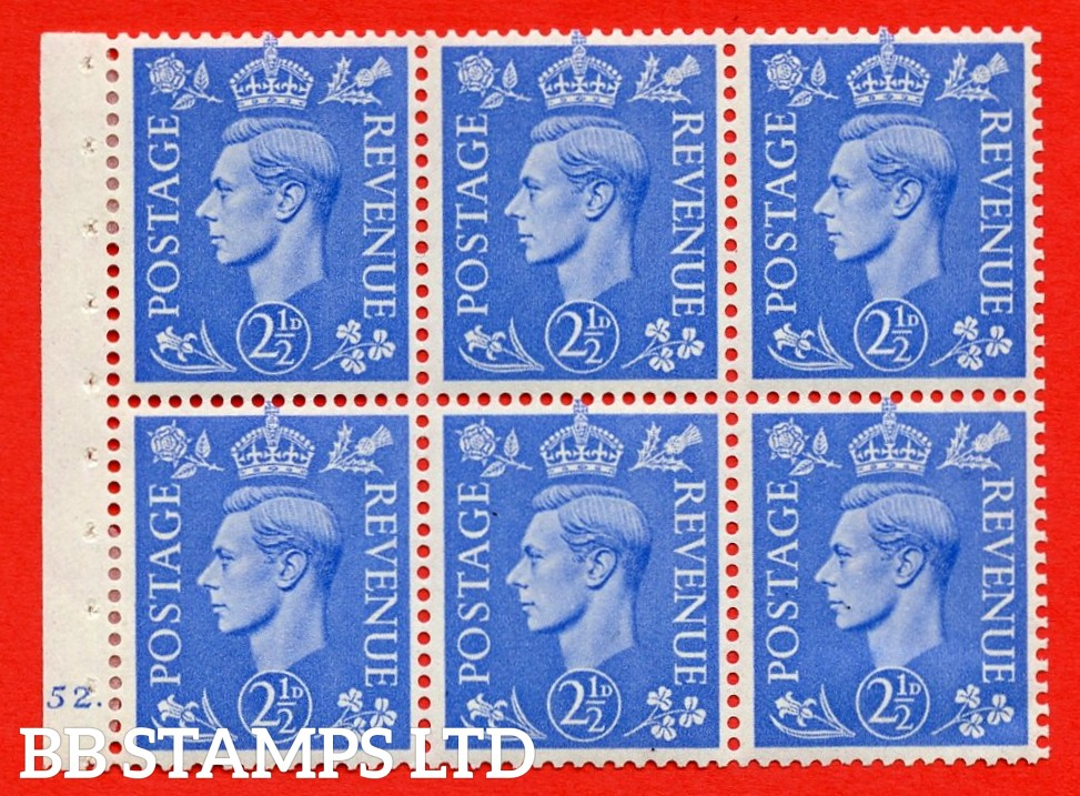 """SG. 489f. QB33. 2½d blue. A fine MOUNTED MINT complete Cylinder pane of 6 J52  dot. Perf type """"B6(IE)"""". Good Perfs."""