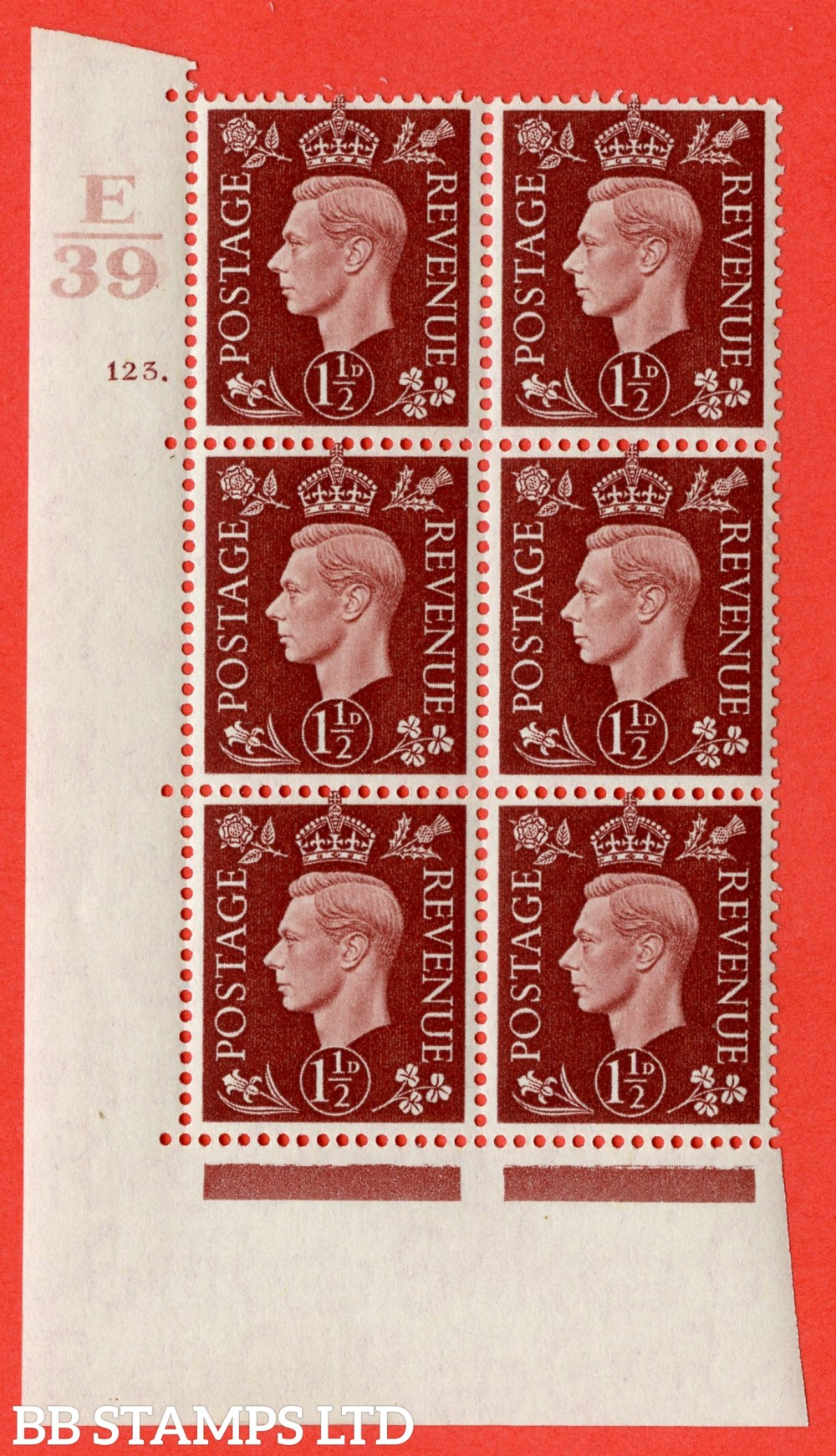 "SG. 464. Q7. 1½d Red-Brown. A superb UNMOUNTED MINT "" Control E39 cylinder 123 dot "" block of 6 with perf type 5 E/I."