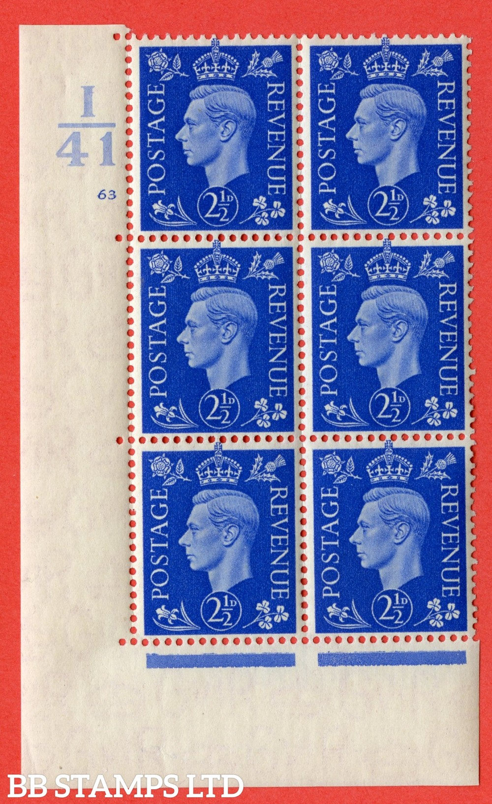 "SG. 466. Q13. 2½d Ultramarine. A superb UNMOUNTED MINT "" Control I41 cylinder 63 no dot "" control block of 6 with perf type 5 E/I."